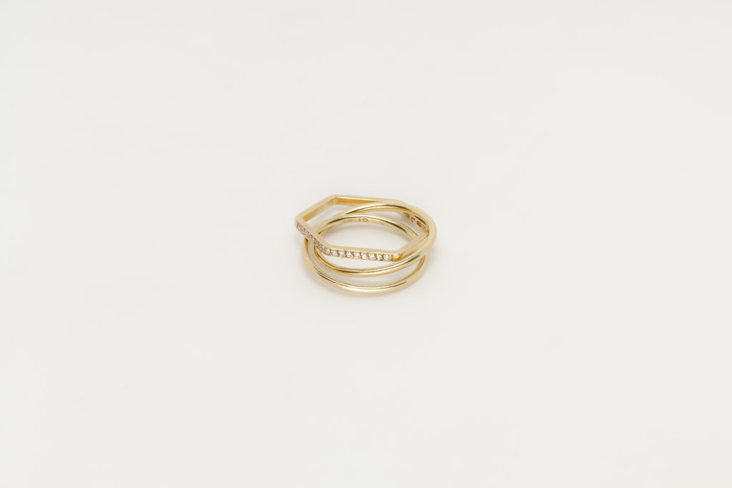 Yellow gold ring,18KT with diamonds - Cerchio Cerchio Esagono