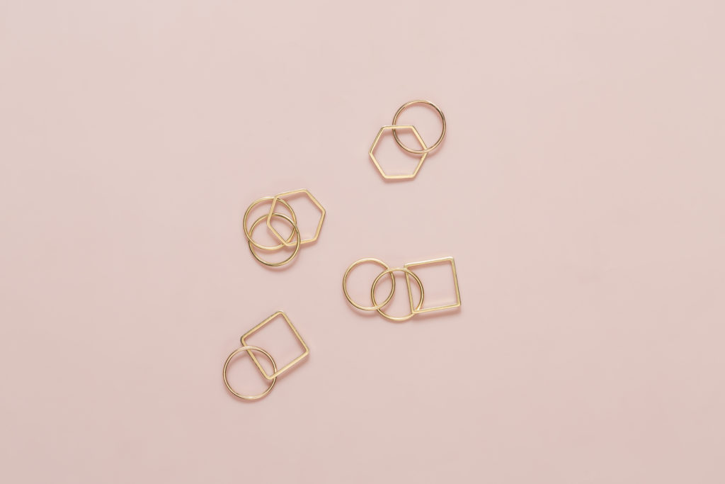 Series of geometrical yellow gold rings,18KT with diamonds - Cerchio Cerchio Esagono