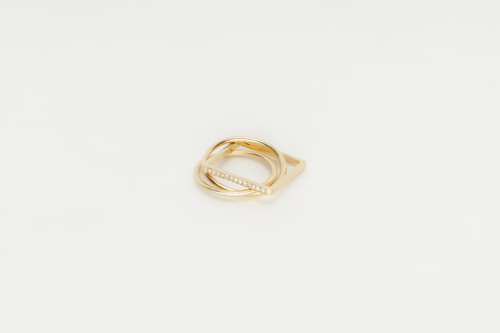 Yellow gold band ring,18KT with diamonds - Quadrato Cerchio Cerchio