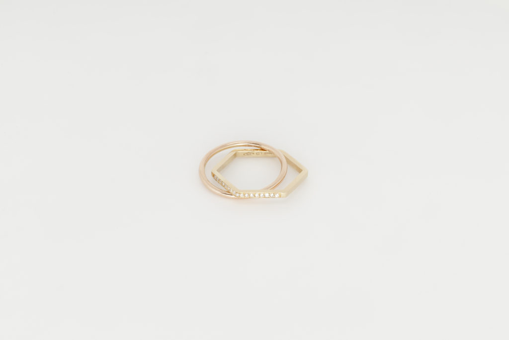 Yellow and rose gold ring,18KT with diamonds - Cerchio Esagono