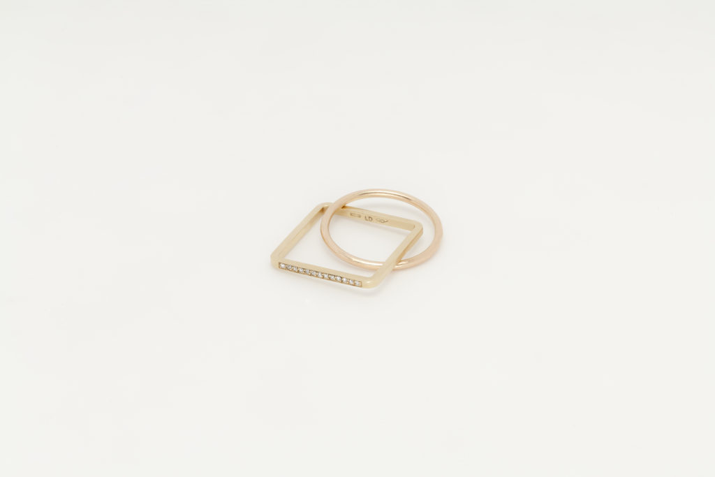 Yellow and rose gold ring,18KT with diamonds - Quadrato Cerchio
