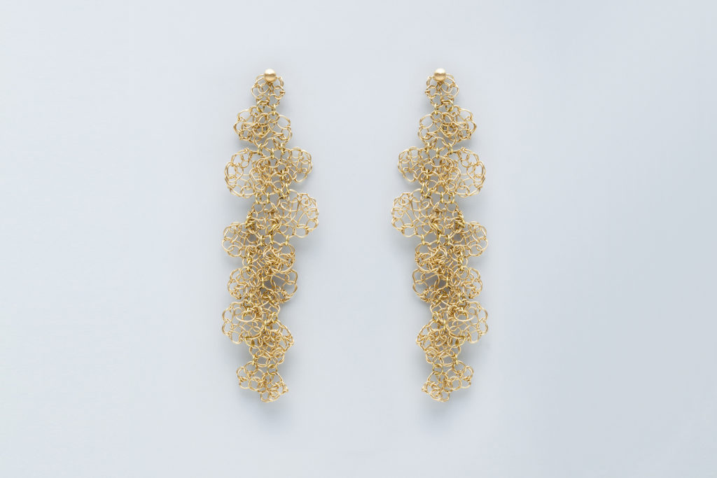 Hanging earrings in 18KT yellow gold - Merletto Torchon