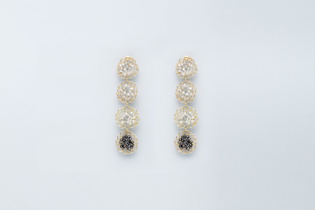 18KT yellow gold earrings whit grey and black diamonds - Mosaico Tesserae