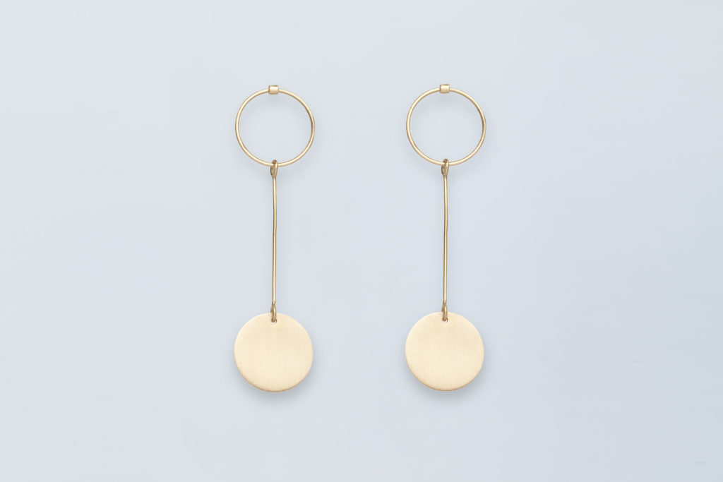 Hanging earrings in 18KT yellow gold - Pieno Vuoto