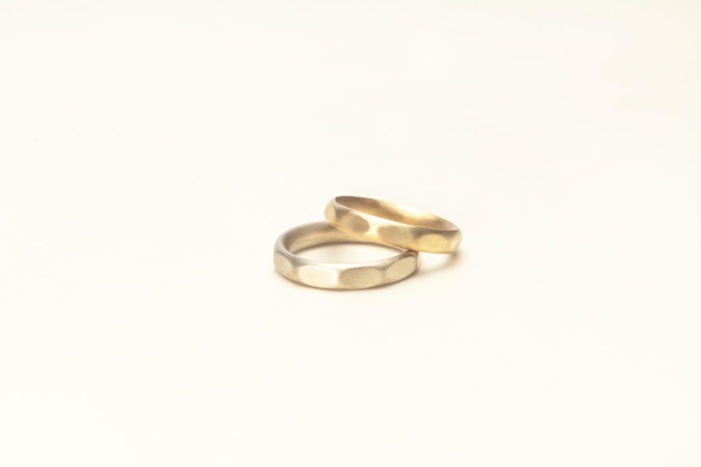 18KT yellow, white gold wedding rings - Pois