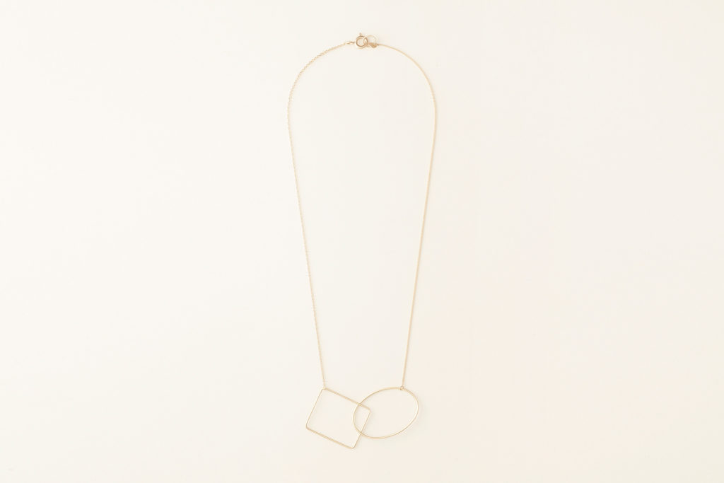 18KT yellow gold short necklace with geometric elements - Ovale Rettangolo N