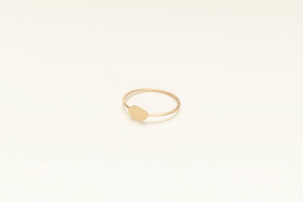 18KT thin yellow gold ring - Ovalino
