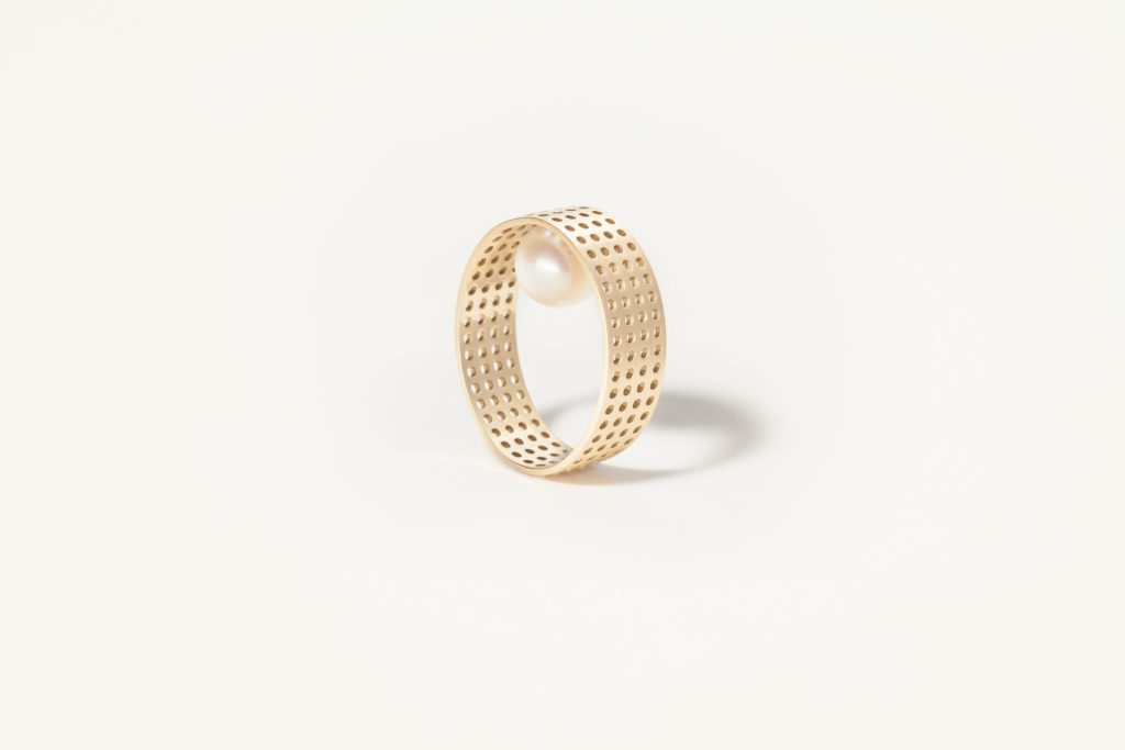 18KT band gold ring with pearl (Diameter 8,5MM) - Pointillisme