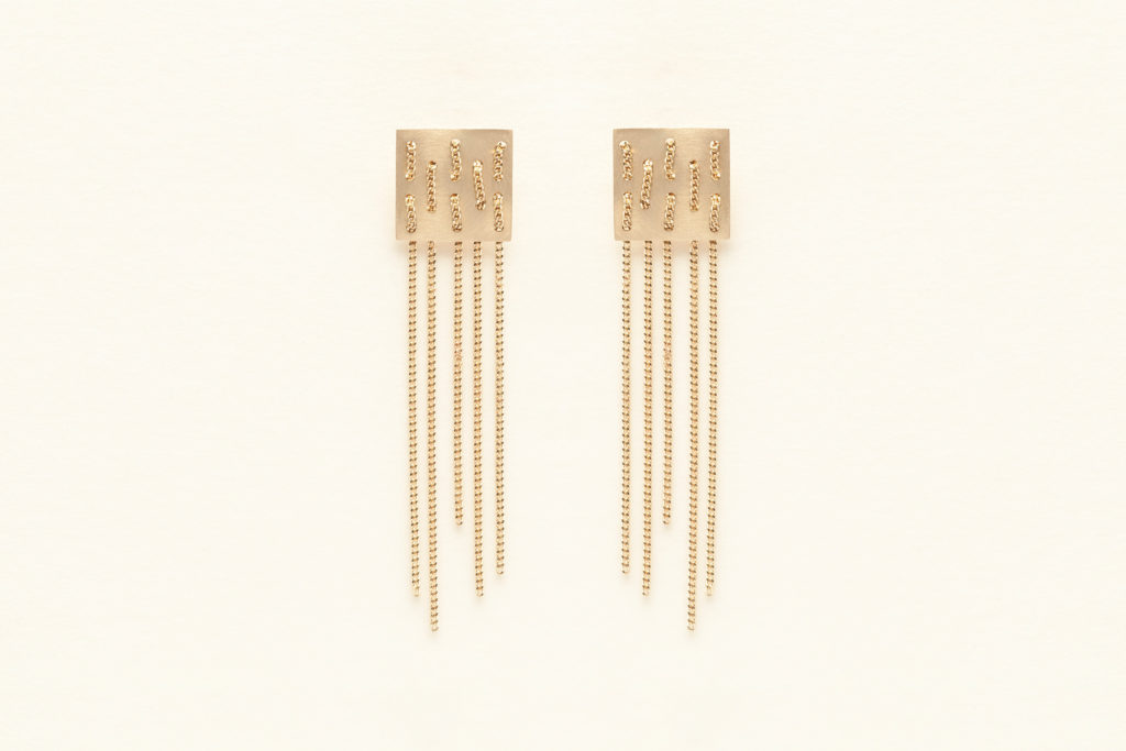 Chained earrings in 18KT yellow gold - Weave E